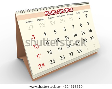 February sheet in a Calendar for 2013. 3d render - stock photo