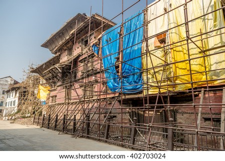 February, 15th 2016 - Katmandu, Nepal - Old templo under reconstruction after the April's 2015 earthquake in the Durbar square in downtown Katmandu, Nepal.