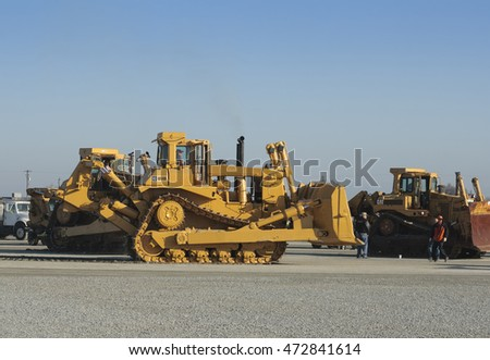 February 11, 2011 - Tulare, CA, USA: A huge caterpillar bulldozer at a California heavy equipment auction.