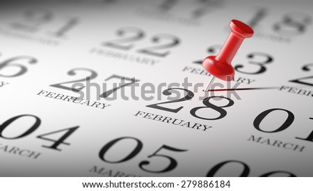 February 28 written on a calendar to remind you an important appointment.