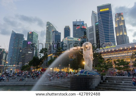 FEBUARY 27, 2016 SINGAPORE : The Merlion is a traditional creature with a lion head and a body of a fish, seen as a symbol of Singapore. - stock photo