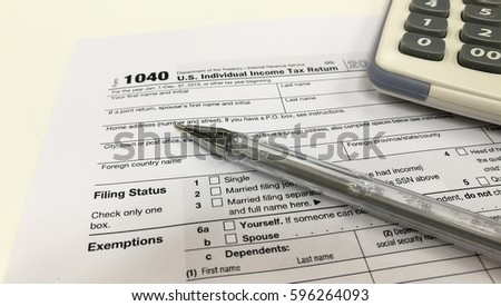 Federal Income Tax Form 1040 Crumpled Stock Photo Royalty Free