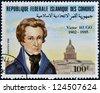 FEDERAL ISLAMIC REPUBLIC COMOROS - CIRCA 1985: A stamp printed in Comoros shows Victor Hugo, circa 1985 - stock photo