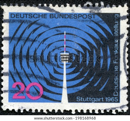 FEDERAL REPUBLIC OF GERMANY - CIRCA 1965: A stamp printed in the Federal Republic of Germany shows Stuttgart, circa 1965