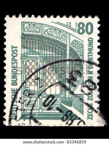 FEDERAL REPUBLIC OF GERMANY - CIRCA 1998: A stamp printed in the Federal Republic of Germany shows Zeche Zollern - mine in Dortmund, circa 1998