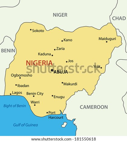 Federal Republic of Nigeria - map - stock photo