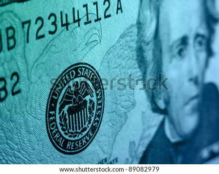 Federal reserve system symbol on the twenty dollar bill. - stock photo