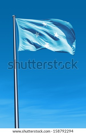 Federated States of Micronesia flag waving on the wind - stock photo