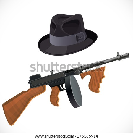 Fedora hat and a Thompson gun for a retro party isolated on white background - stock photo