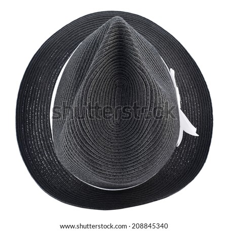 Fedora like black hat with a white tape isolated over white background, view above - stock photo