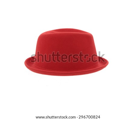 fedora red hat isolated  - stock photo