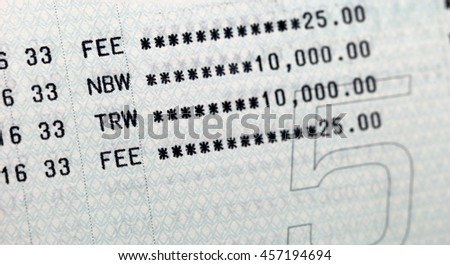 fee charge in book bank statement