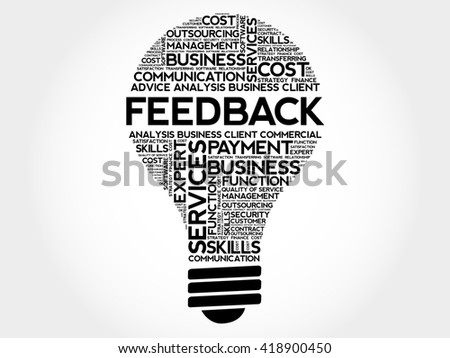 Feedback bulb word cloud, business concept - stock photo