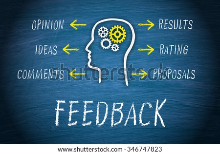 Feedback Business Concept - head with cogwheels and arrows with text on blue background