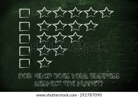 feedback chart with stars to evaluate the ecological performance of a business