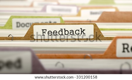 Feedback Concept on Folder Register in Multicolor Card Index. Closeup View. Selective Focus.