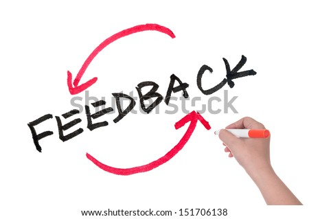 Feedback concept words written on white board - stock photo