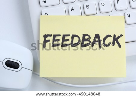Feedback contact customer service opinion survey business concept review office computer keyboard - stock photo