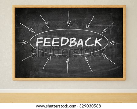 Feedback - 3d render illustration of text on black chalkboard in a room. - stock photo