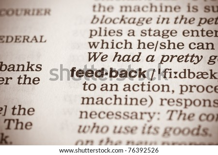 feedback definition in a dictionary - stock photo