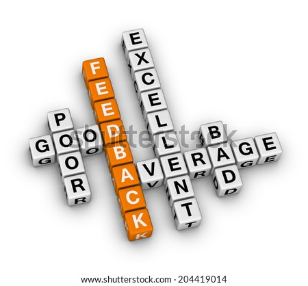 feedback form cubes (orange-white crossword puzzles series) - stock photo