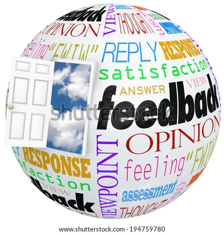 Feedback globe world door opening inside customer opinions, reviews, comments, survey  - stock photo