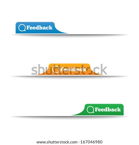 Feedback labels. Feedback tags on the page. Feedback tab. Speech bubble. Illustration. - stock photo