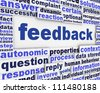 Feedback poster conceptual background. Information Analysis message design - stock photo