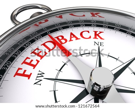 feedback red word on conceptual compass on white background - stock photo