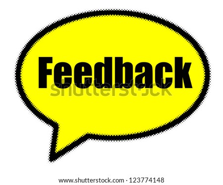 Feedback sign in yellow speech bubble - stock photo