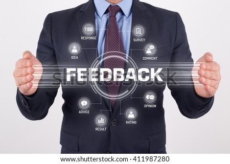 FEEDBACK TECHNOLOGY COMMUNICATION TOUCHSCREEN FUTURISTIC CONCEPT - stock photo