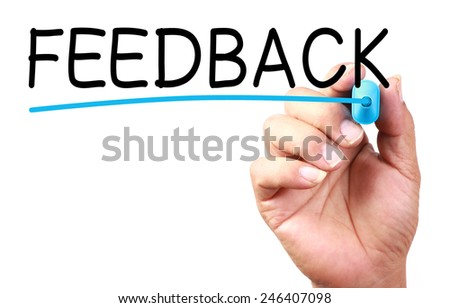 Feedback text with line written on transparent whiteboard. - stock photo