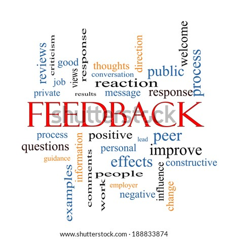 Feedback Word Cloud Concept with great terms such as results, positive, improve and more. - stock photo