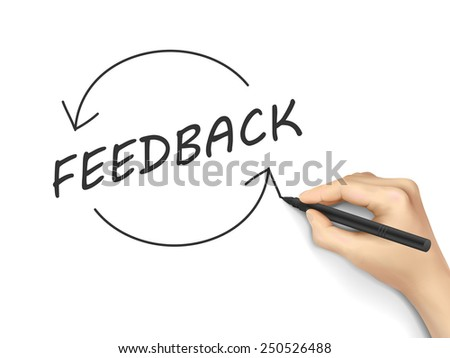 feedback word written by hand on a white board - stock photo