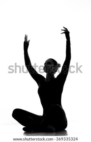 stunning shape silhouette gymnast woman standing stock