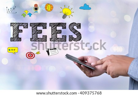 FEES person holding a smartphone on blurred cityscape background - stock photo