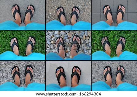 Feet collection on different grounds - stock photo