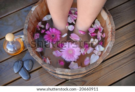 Feet dipped into spa