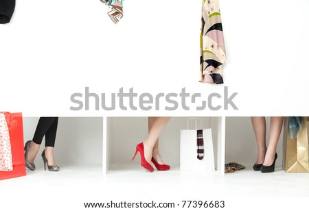 feet high heels showing from store wordrobe