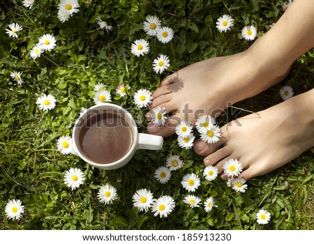 Feet in grass on meadow with chamomile and cup of coffee. - stock photo