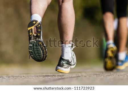 feet of a marathon runner