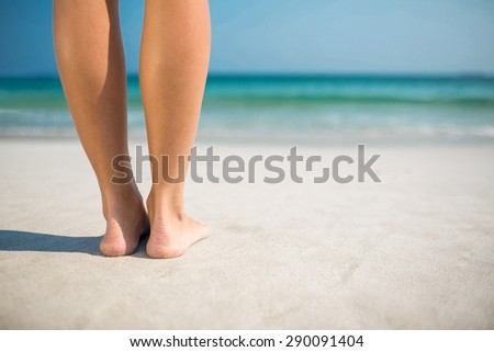 Feet of woman at the beach on a sunny day