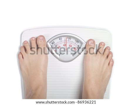 Feet on diet bathroom scale