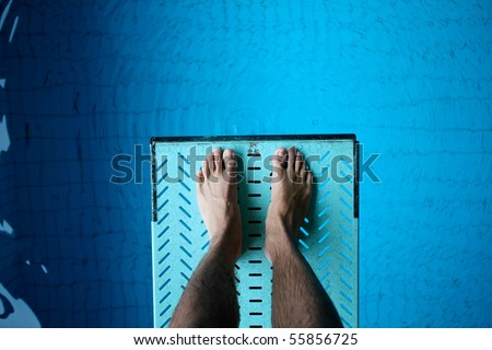 feet on spring board - stock photo