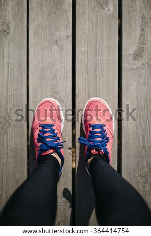 feet on trail running sport healthy fitness lifestyle, top view. - stock photo