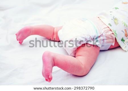feets of newborn baby - stock photo