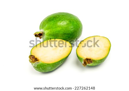 feijoa fruit, isolated on white.