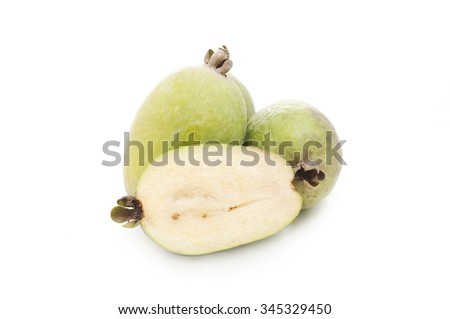 feijoa fruits on a white background