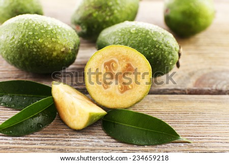 Feijoa on table close-up - stock photo