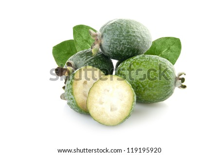 feijoa with leaves isolated on white